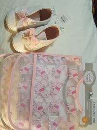 Baby Girl shoes size 4 and 3 easy clean bibs