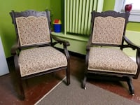 two brown wooden framed white padded armchairs Washington, 20009
