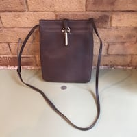 Cole Haan Leather North South Crossbody Chocolate brown
