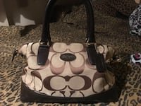 brown and black Coach monogram tote bag null