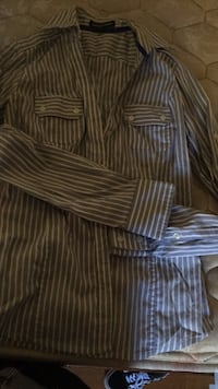 black and white striped button-up shirt Salinas, 93906