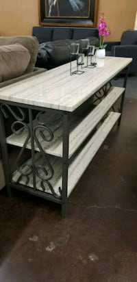 Three tier marble top and metal sofa table