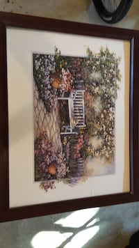 brown wooden framed painting of house Perry Hall, 21128
