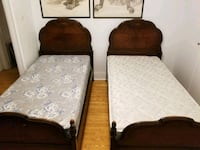 Two Twin Antique Solid Wood Beds With Slats