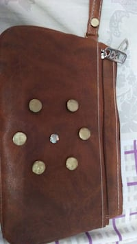 brown and white leather wallet