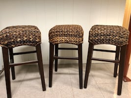 Pottery Barn Rattan stools barstools (set of 3)