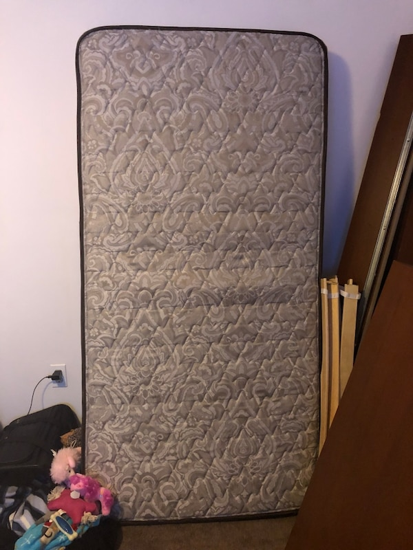 Used Twin mattress headboard and frame NEGOTIABLE or sold separate ... e075375cef934