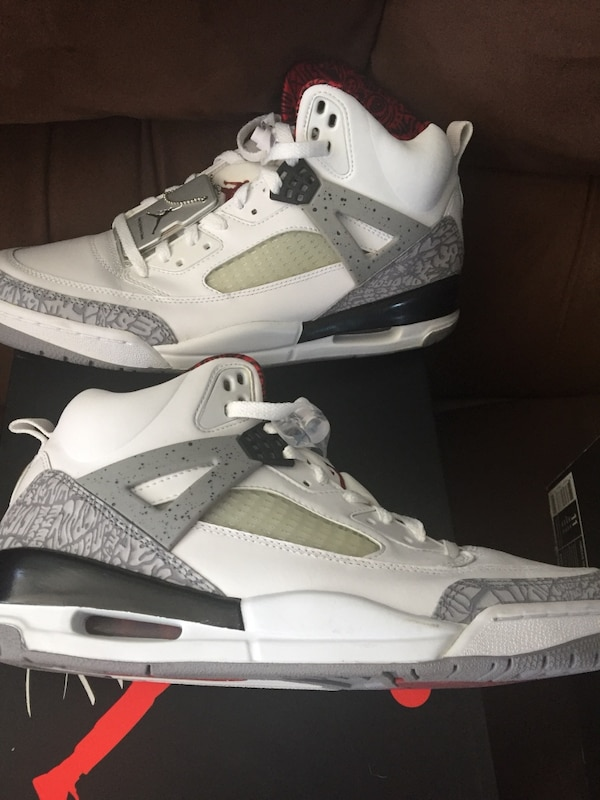 9a16f64a2ad5ed Used Pair of white-gray-and-red air jordan spizikes for sale in Plymouth -  letgo