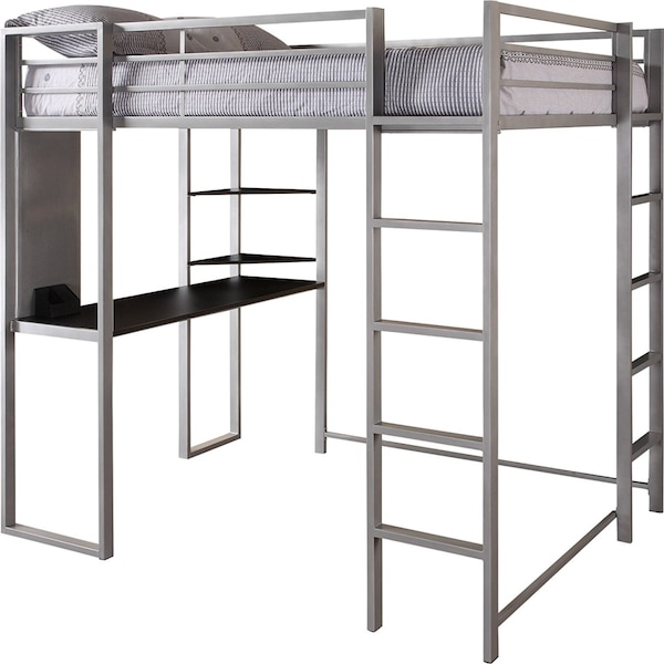 Gray full size loft bed frame w/ desk. perfect for small rooms!
