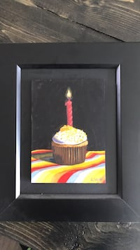 Black wooden framed painting of a cupcake Edmonton, T5V