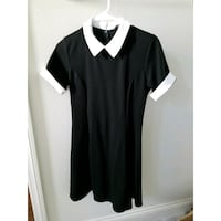 Black and White Contrast Collared Dress