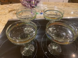 Stained Bubble Glass Margarita Glasses set of 4