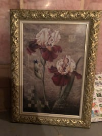 white and pink flower painting with brown wooden frame Edmonton, T5Z 0C6