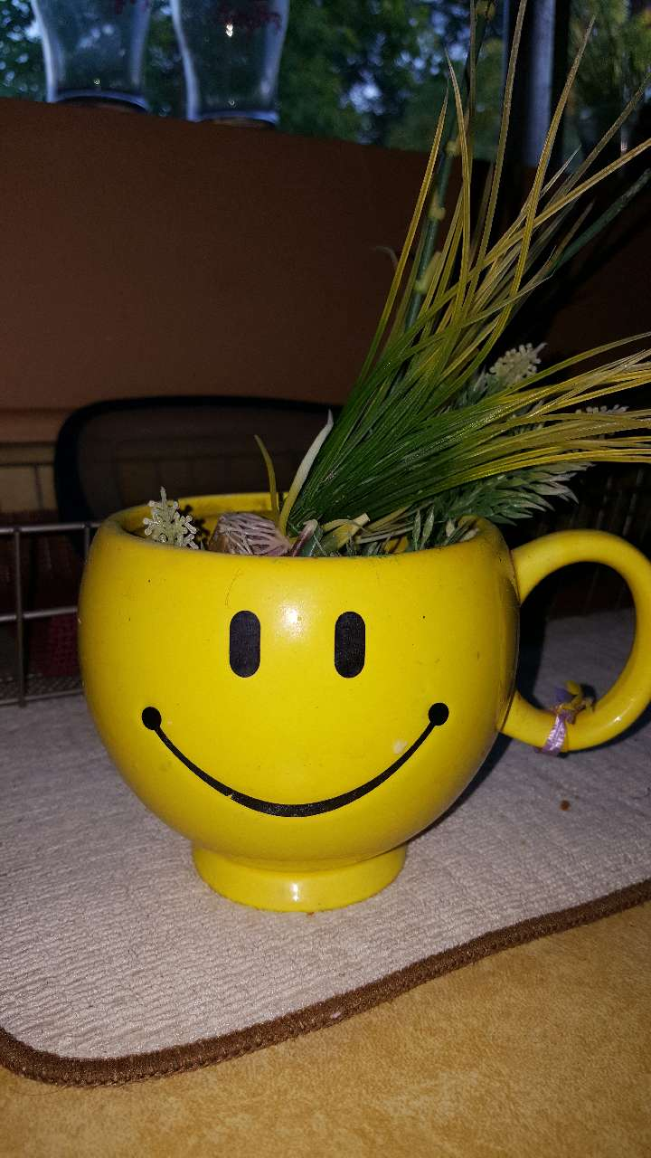 yellow ceramic smile paint cups