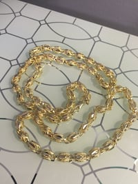 """14k Gold Plated Beautiful Chain Necklace 27"""" 7mm"""