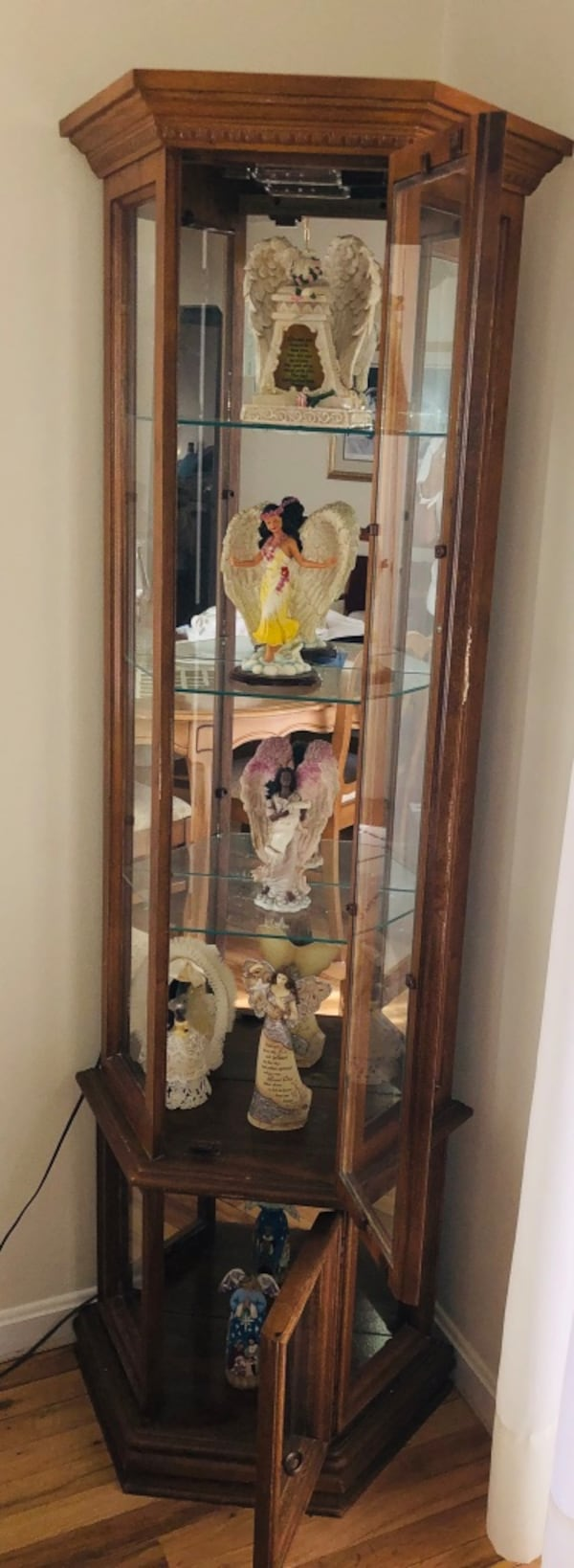 Wooden Curio Cabinet- angels not included. Cash only. You pick up and move. Location Willow Grove, PA 19090 783b62b4-ddc3-45c0-9cc0-330a7cf8ad13