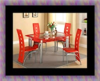 Glass red dining table set with leather chairs Laurel