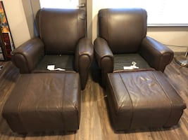(2) Barclay Leather Chairs and Ottomans