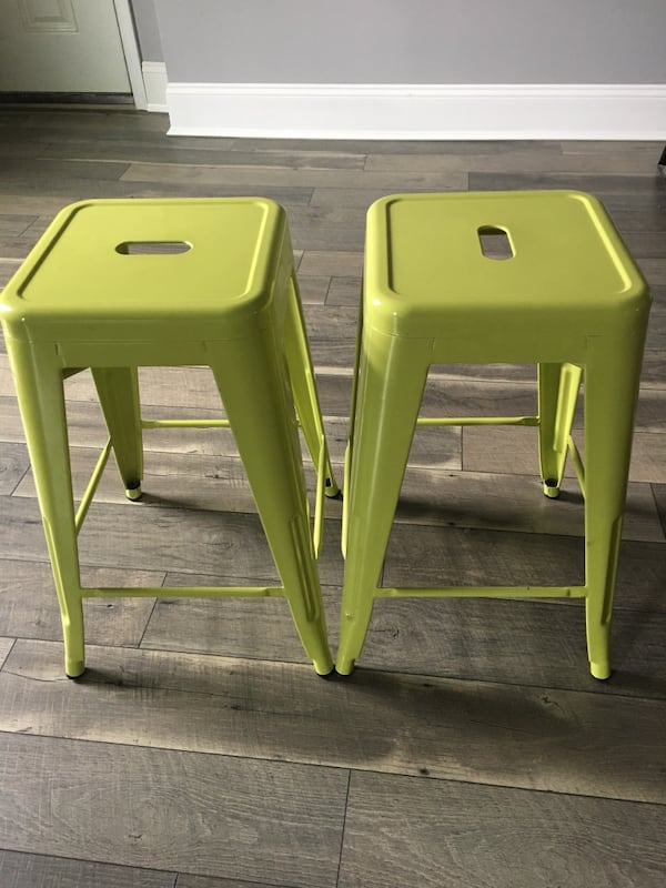 24 Inch Tall Metal Stools Lime Green
