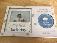Baby's 1st Birthday frame & sticker (boy) Sparrow Bush, 12780