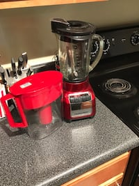 red and black Black & Decker blender