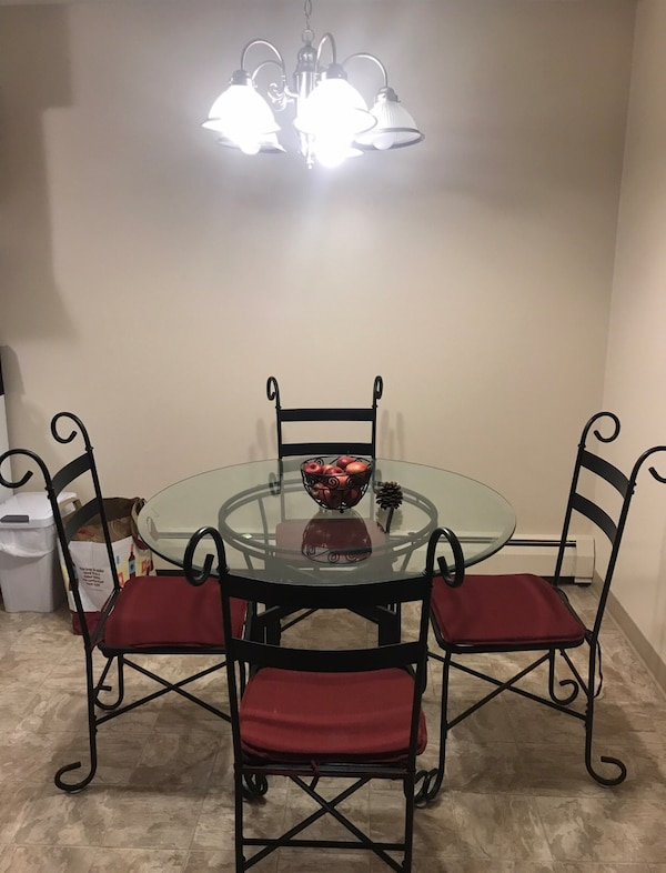 Black Iron Kitchen Table w/ Red Chair Cushions