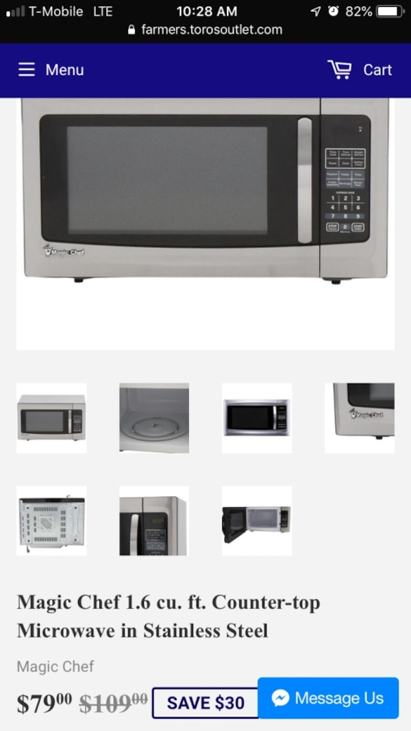 Magic Chef 1 6 Cu Ft Counter Top Microwave In Stainless Steel