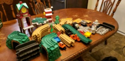 large mattel train set complete mint condition