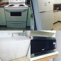 White top-mount refrigerator, coil range oven, countertop microwave, and top-load clothes washer and front-load dryer collage