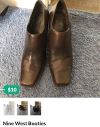 Brown Leather slip on shoe booties