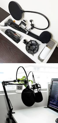 $30 New Condenser Microphone Kit Studio Recording w/ Pro Filter Boom Arm Stand Shock Mount South El Monte