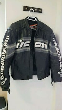black and white leather zip-up jacket New Westminster, V3L 3J2
