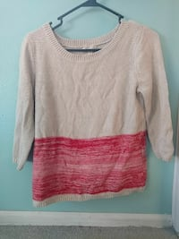 white and red scoop-neck sweater