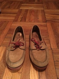 pair of brown leather boat shoes 47 km