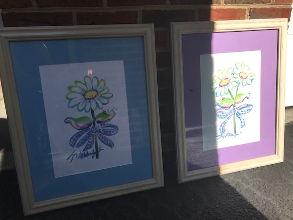 Used Two White Wooden Framed Painting Of Flowers For Sale In