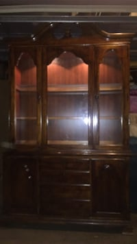 brown wooden framed glass display cabinet Escondido, 92026