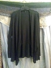 Rags and Couture black uneven hem ruffle cardigan size extra large