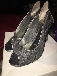 Silver high heels size 7.5 womens Whitehall, 15236