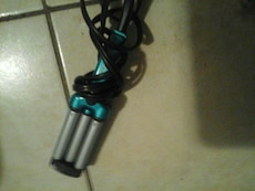 blue and grey hair curling iron