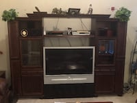 Wall unit, cherry wood, 3 pieces like new  STAFFORD