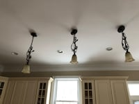 3 bronze frosted mini pendants with two matching chandeliers Falls Church, 22043