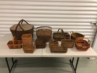 Lot of 12 Vintage Longaberger Handwoven Baskets - Made in USA North Wales, 19454