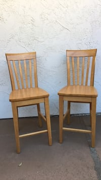 Two solid wood high back stools Carlsbad, 92009