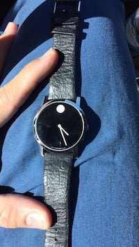 Round silver analog watch with black leather strap Scottsdale, 85255