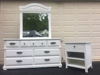 White Solid Wood Long Dresser With Mirror and Nightstand  Manassas, 20112
