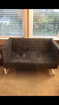 brown wooden framed gray padded couch Rockville, 20851