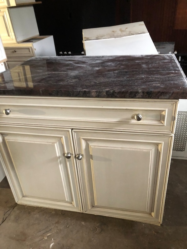 Used White wooden cabinets with drawers & granite ...