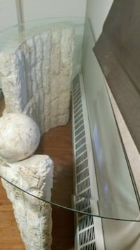 """""""Decor Marble Table """" 1/2"""" Tampered Glass Top,Marble solid base 200lbs"""