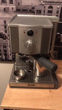 gray Brevile espresso machine and a coffee grinder. Almost brand new. Vancouver, V6G