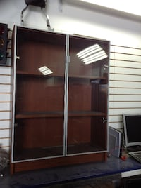 Wooden Mountable Wall Cabinet with Glass Doors Miami